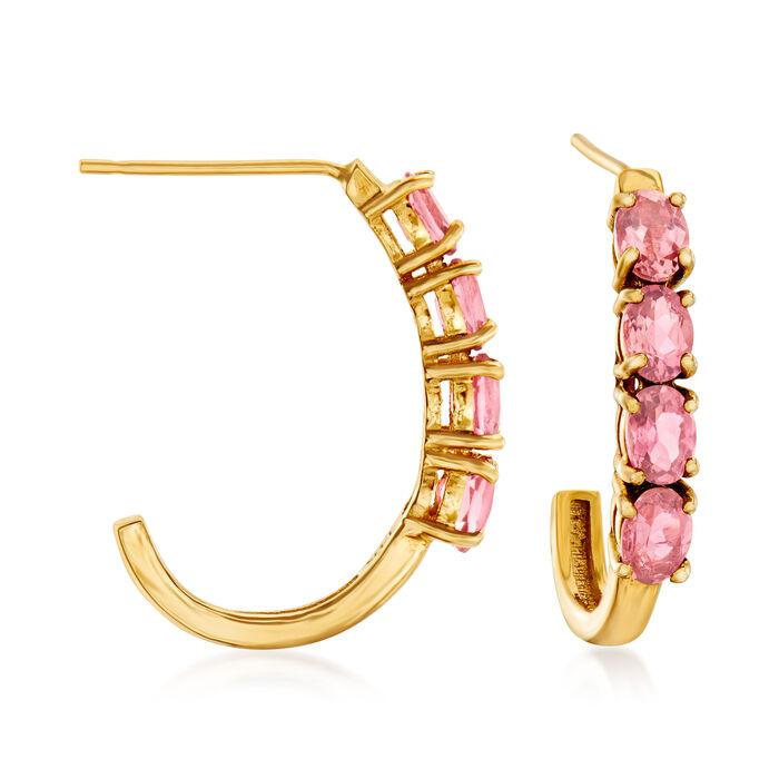 """1.20 ct. t.w. Pink Tourmaline J-Hoop Earrings in 14kt Yellow Gold. 3/4"""""""