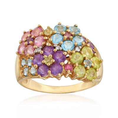 C. 1990 Vintage 2.80 ct. t.w. Multi-Gemstone Flower Ring in 14kt Yellow Gold, , default
