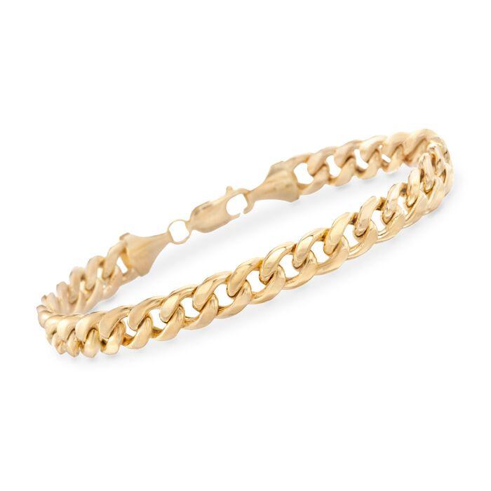"Men's 7.8mm Miami Cuban Link Bracelet in 14kt Yellow Gold. 8.5"""