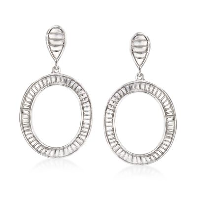 Sterling Silver Striped Open Circle Drop Earrings, , default