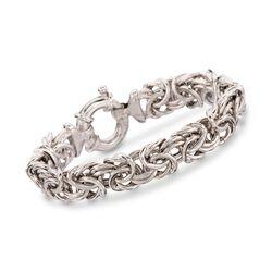 Italian Sterling Silver Large Byzantine Bracelet, , default