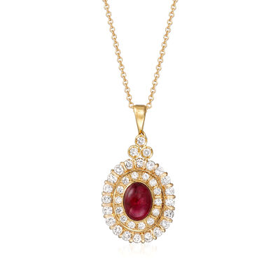 C. 1980 Vintage 1.65 Carat Ruby and .85 ct. t.w. Diamond Pendant Necklace in 18kt Yellow Gold