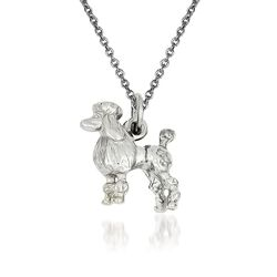 14kt White Gold Poodle Pendant Necklace, , default