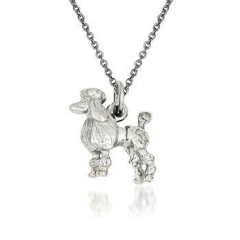 """14kt White Gold Poodle Pendant Necklace. 18"""", , default"""