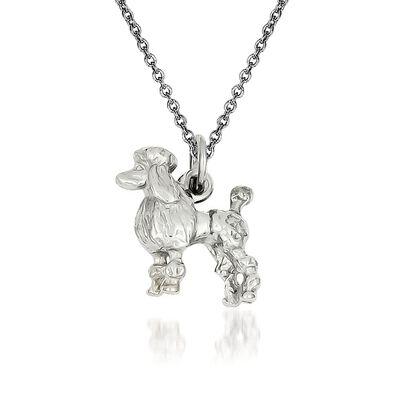 14kt White Gold Poodle Pendant Necklace, , default