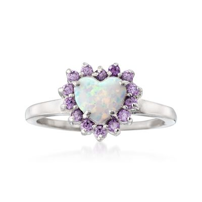 Simulated Opal and Simulated Amethyst Heart Ring in Sterling Silver