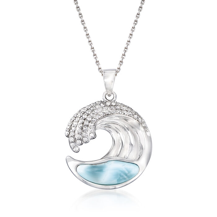 Larimar and .45 ct. t.w. CZ Wave Pendant Necklace in Sterling Silver