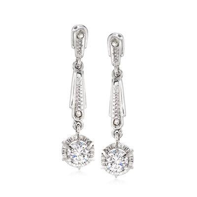 C. 1960 Vintage 1.06 ct. t.w. Diamond Drop Earrings in 18kt White Gold, , default