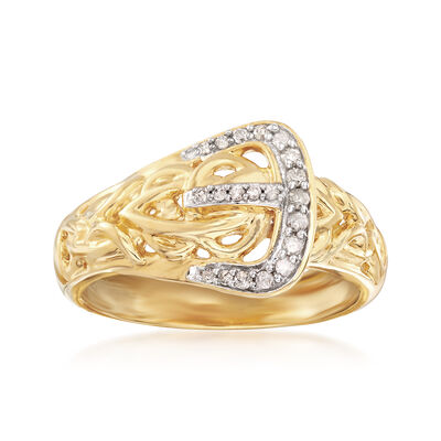 .13 ct. t.w. Diamond Buckle Ring in 18kt Yellow Gold Over Sterling, , default