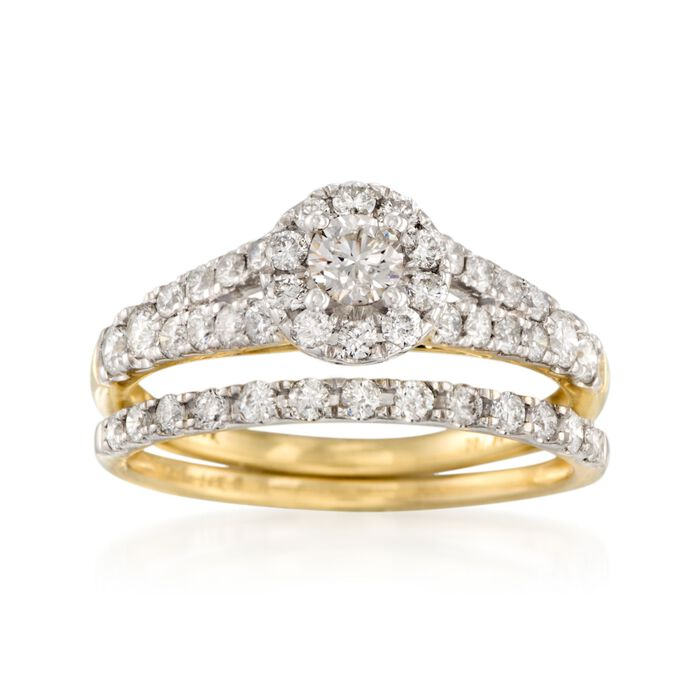 1.00 ct. t.w. Diamond Bridal Set: Engagement and Wedding Rings in 14kt Yellow Gold, , default