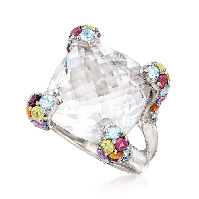 11.00 Carat Rock Crystal and 1.40 ct. t.w. Multi-Gemstone Ring in Sterling Silver