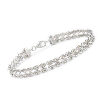 Sterling Silver Double Rope Chain Bracelet, , default