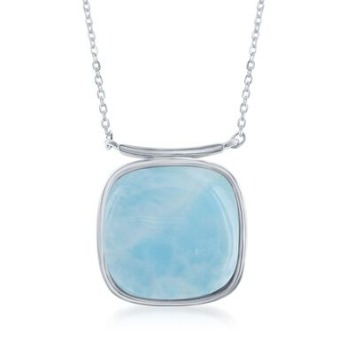 Square Larimar Necklace in Sterling Silver, , default