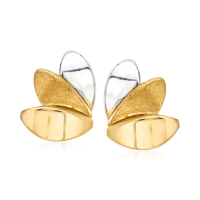 14kt Two-Tone Gold Left-Right Earrings, , default