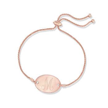 14kt Rose Gold Personalized Oval Bolo Bracelet