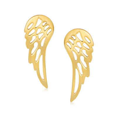 Italian 14kt Yellow Gold Wing Earrings