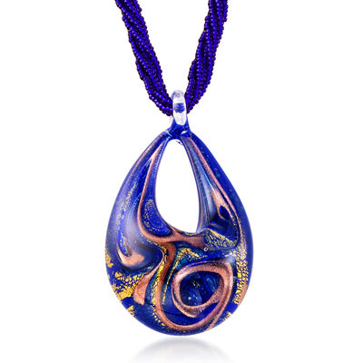 Italian Jewelry. Image Featuring Italian Blue Murano Pendant Necklace in 18kt Gold Over Sterling # 920590