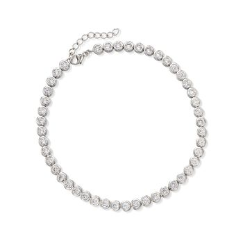 """4.70 ct. t.w. CZ Anklet in Sterling Silver. 9"""", , default"""