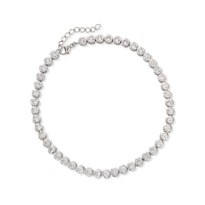 4.70 ct. t.w. CZ Anklet in Sterling Silver, , default