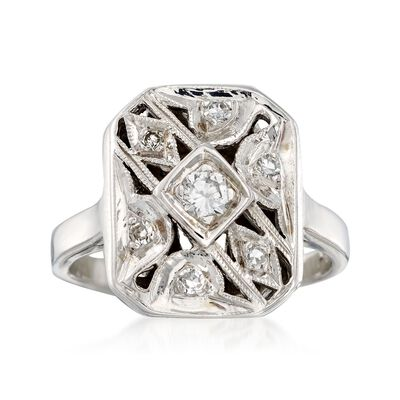 C. 1950 Vintage .12 ct. t.w. Diamond Milgrain Ring in 14kt White Gold, , default