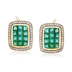 2.10 ct. t.w. Emerald and .38 ct. t.w. Diamond Frame Earrings in 14kt Yellow Gold, , default
