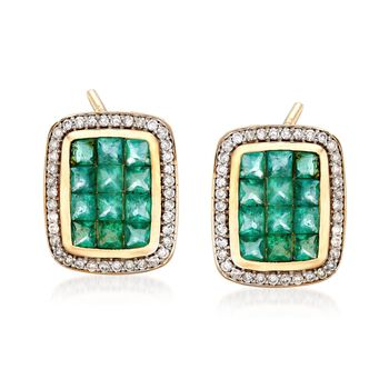 2.10 ct. t.w. Emerald and .38 ct. t.w. Diamond Frame Earrings in 14kt Yellow Gold , , default