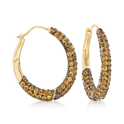 10.00 ct. t.w. Pave Citrine Hoop Earrings in 18kt Yellow Gold Over Sterling Silver, , default