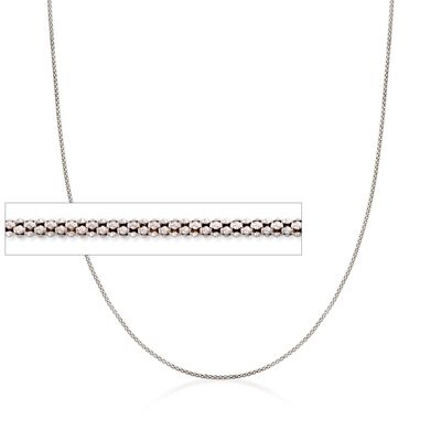 Italian 1.4mm Sterling Silver Adjustable Slider Popcorn Chain Necklace
