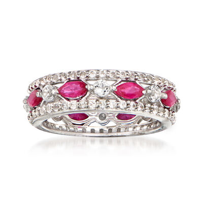1.45 ct. t.w. White Topaz and 1.30 ct. t.w. Ruby Eternity Ring in Sterling Silver