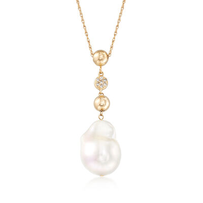 12-14mm Cultured Baroque Pearl Necklace with Diamond Accents in 14kt Yellow Gold, , default