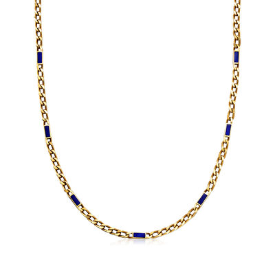C. 1990 Vintage 14kt Yellow Gold Curb-Link Necklace with Blue Enamel, , default