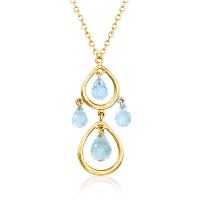 C. 1990 Vintage Tiffany Jewelry 2.80 ct. t.w. Aquamarine Teardrop Necklace in 18kt Yellow Gold