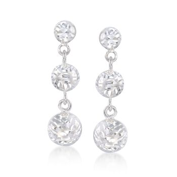 Italian Diamond-Cut Sterling Silver Drop Earrings, , default