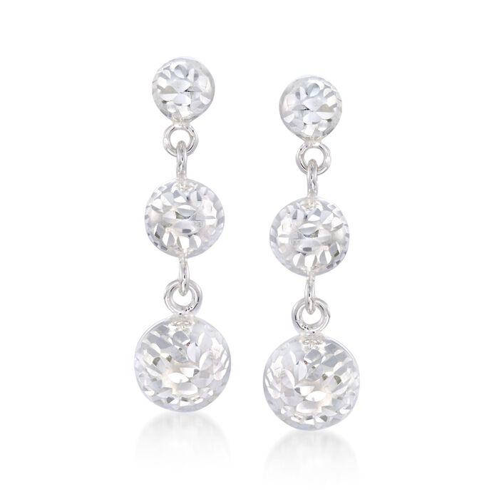 Italian Diamond-Cut Sterling Silver Drop Earrings, , default
