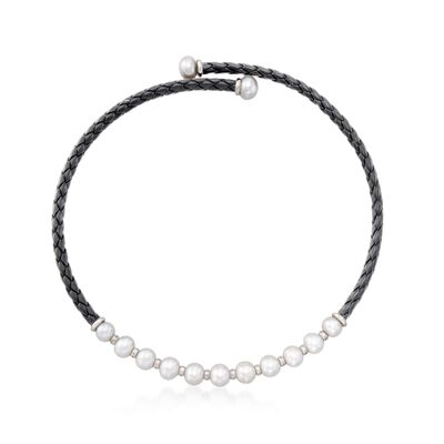 8-12mm Cultured Pearl and Black Leather Collar Necklace with Sterling Silver, , default