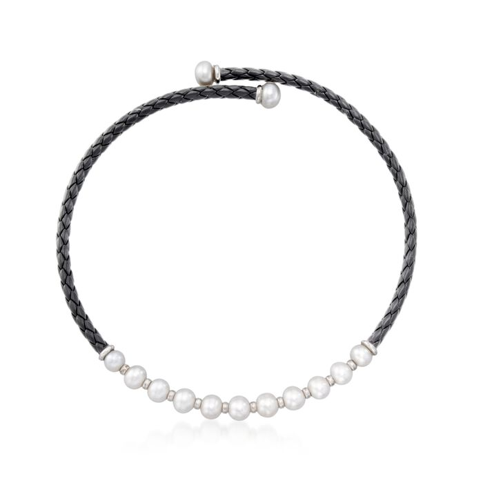 """8-12mm Cultured Pearl and Black Leather Collar Necklace With Sterling Silver. 17"""", , default"""
