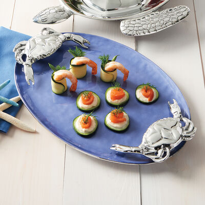 Mariposa Cobalt Blue Crab-Handled Serving Tray, , default