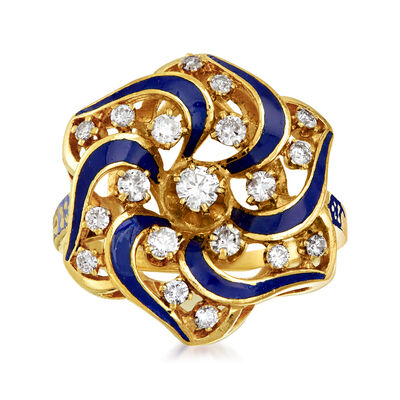 C. 1960 Vintage .80 ct. t.w. Diamond and Blue Enamel Swirl Ring in 14kt Yellow Gold