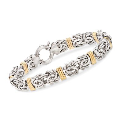 Byzantine Bracelet in Sterling Silver and 14kt Yellow Gold, , default