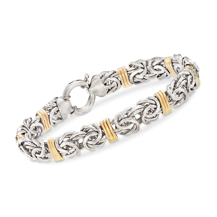 Byzantine Bracelet in Sterling Silver and 14kt Yellow Gold