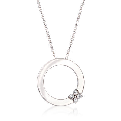 """Roberto Coin """"Love in Verona"""" 18kt White Gold Open Circle Necklace with Diamond Accents"""