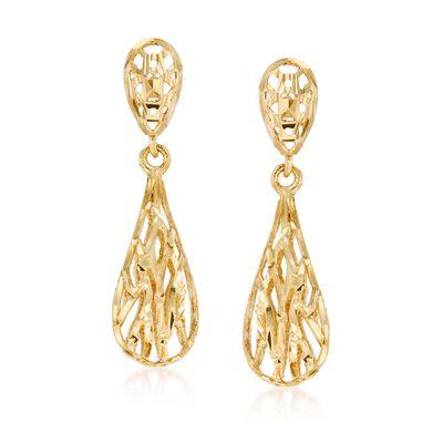 14kt Yellow Gold Openwork Drop Earrings, , default