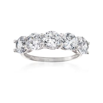 3.00 ct. t.w. CZ Five-Stone Ring in Sterling Silver, , default
