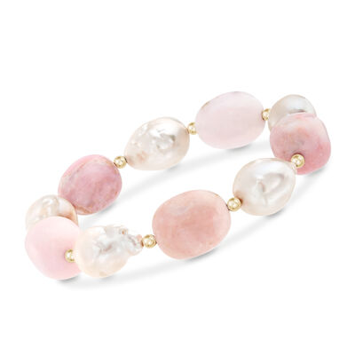 12-14mm Cultured Baroque Pearl and Pink Opal Bead Stretch Bracelet with 14kt Yellow Gold, , default