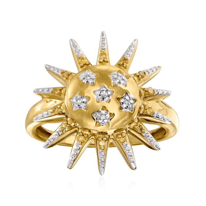 .10 ct. t.w. Diamond Sun Ring in 18kt Gold Over Sterling