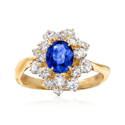 C. 1990 Vintage .90 Carat Sapphire and 1.04 ct. t.w. Diamond Ring in 18kt Yellow Gold
