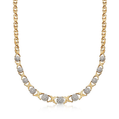 .50 ct. t.w. Diamond XO Necklace in 18kt Gold Over Sterling, , default