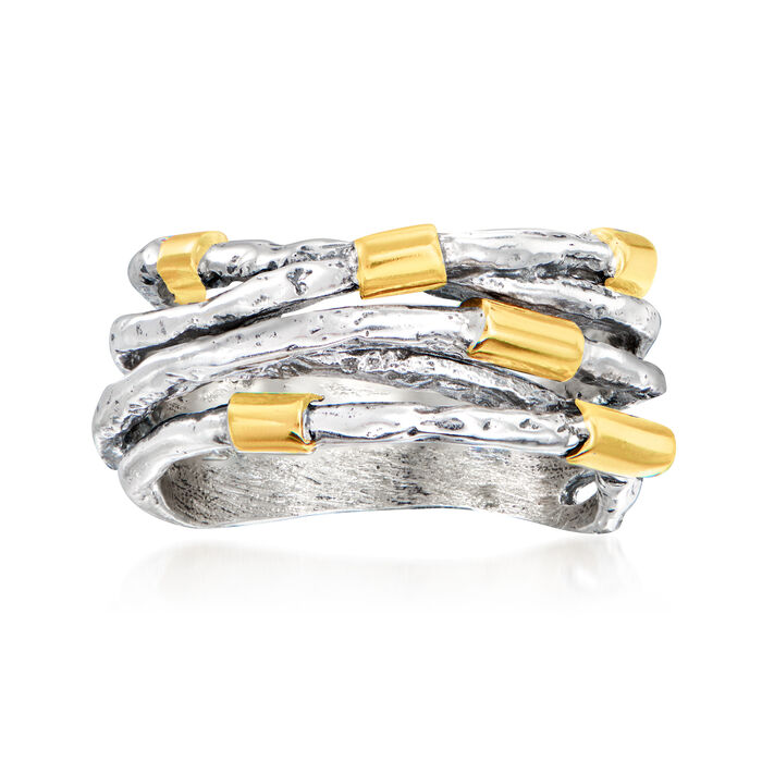 Sterling Silver with 14kt Yellow Gold Station Highway Ring