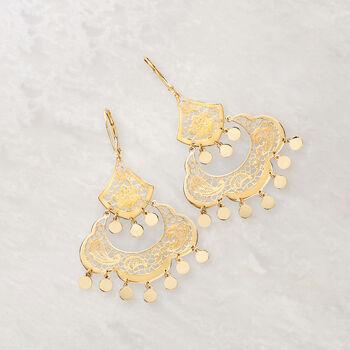 Italian 14kt Yellow Gold Filigree Chandelier Earrings, , default