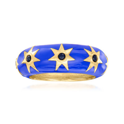 .20 ct. t.w. Sapphire and Blue Enamel Star Ring in 18kt Gold Over Sterling